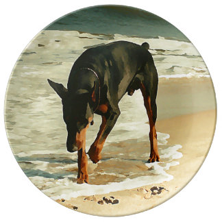 Doberman at the Beach Painting Image Porcelain Plates