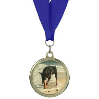 Doberman at the Beach Painting Image Medal