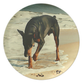 Doberman at the Beach Painting Image Party Plates
