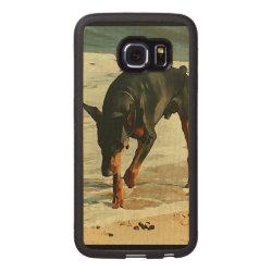 Carved Samsung Galaxy S6 Edge Bumper Wood Case with Doberman Pinscher Phone Cases design