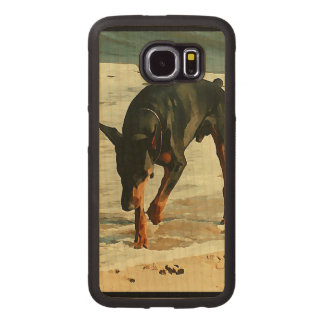 Doberman at the Beach Painting Image Wood Phone Case