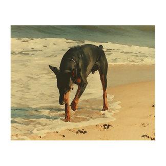 Doberman at the Beach Painting Image Wood Print