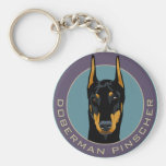 Doberman Badge, Black with green Basic Round Button Keychain
