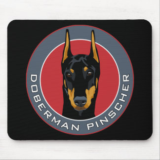 Doberman Badge, Black with Red Mouse Pad