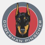 Doberman Badge, Black with Red Classic Round Sticker