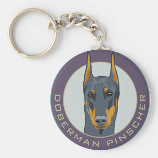 Doberman Badge, Blue Keychain