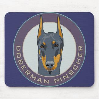 Doberman Badge, Blue Mouse Pads
