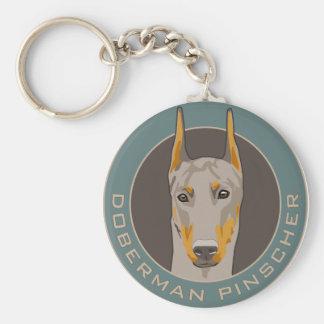 Doberman Badge, Fawn Keychain