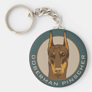 Doberman Badge, Red Keychain