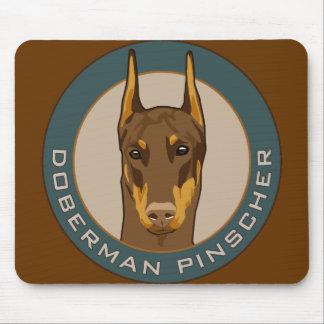 Doberman Badge, Red Mousepads