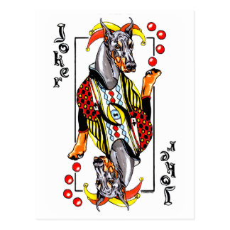 Doberman Black Joker Postcard