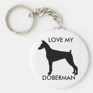 doberman black, LOVE MY, DOBERMAN Basic Round Button Keychain