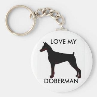 doberman black, LOVE MY, DOBERMAN Keychain