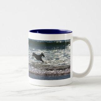 Doberman - Black - Ocean Leap Two-Tone Coffee Mug