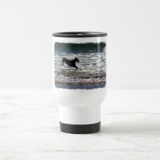 Doberman - Black - Ocean Leap 15 Oz Stainless Steel Travel Mug