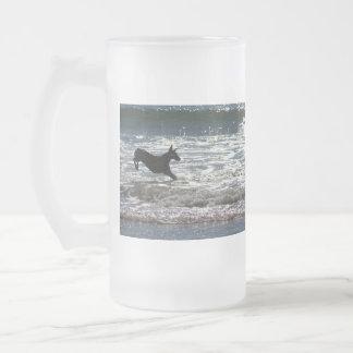 Doberman - Black - Ocean Leap 16 Oz Frosted Glass Beer Mug