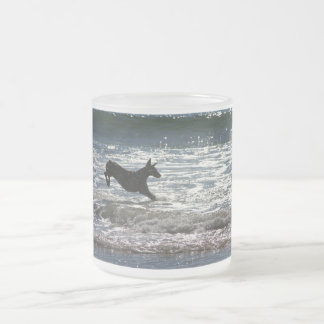 Doberman - Black - Ocean Leap 10 Oz Frosted Glass Coffee Mug