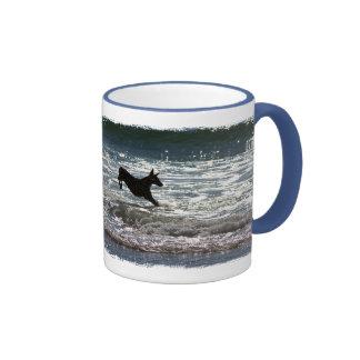Doberman - Black - Ocean Leap Ringer Coffee Mug