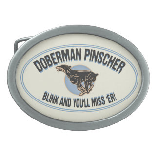 Doberman Blink Oval Belt Buckle