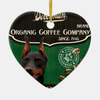 Doberman Brand – Organic Coffee Company Double-Sided Heart Ceramic Christmas Ornament