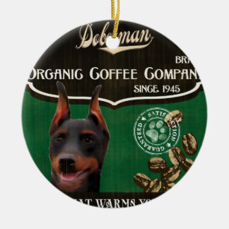 Doberman Brand – Organic Coffee Company Double-Sided Ceramic Round Christmas Ornament