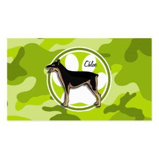 Doberman; bright green camo, camouflage business card template