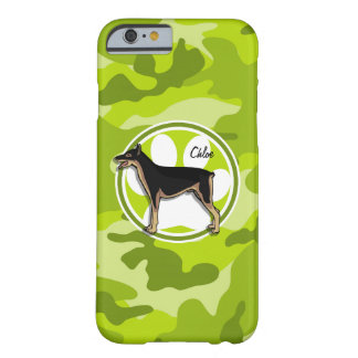 Doberman; bright green camo, camouflage barely there iPhone 6 case