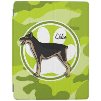 Doberman; bright green camo, camouflage iPad cover