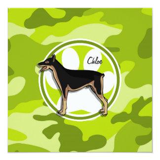 Doberman; bright green camo, camouflage 5.25x5.25 square paper invitation card