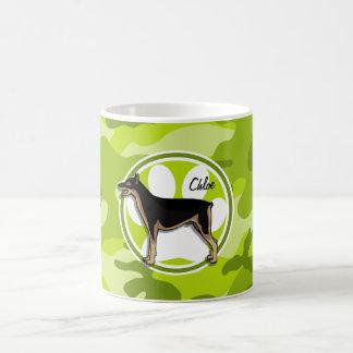 Doberman; bright green camo, camouflage coffee mug