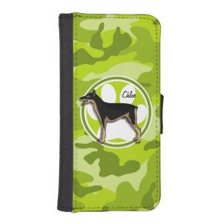 Doberman; bright green camo, camouflage iPhone 5 wallet