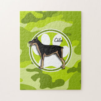Doberman; bright green camo, camouflage jigsaw puzzles