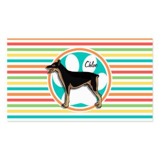 Doberman; Bright Rainbow Stripes Business Card