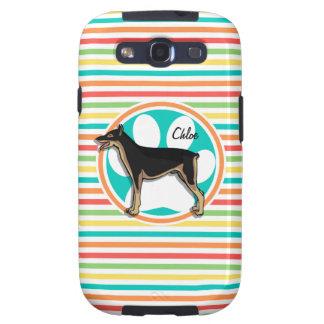 Doberman; Bright Rainbow Stripes Galaxy S3 Cases