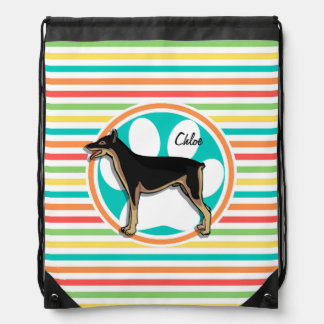 Doberman; Bright Rainbow Stripes Drawstring Bag