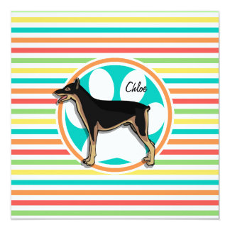 Doberman; Bright Rainbow Stripes Personalized Announcement