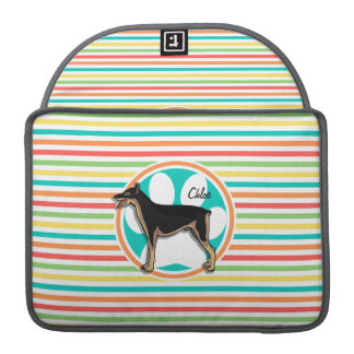 Doberman; Bright Rainbow Stripes MacBook Pro Sleeves