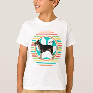 Doberman; Bright Rainbow Stripes T-Shirt