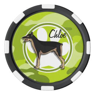 Doberman; camo verde claro, camuflaje juego de fichas de póquer