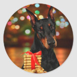 Doberman Christmas Round Sticker