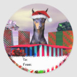 Doberman Christmas Surprise Gift Tags Sticker