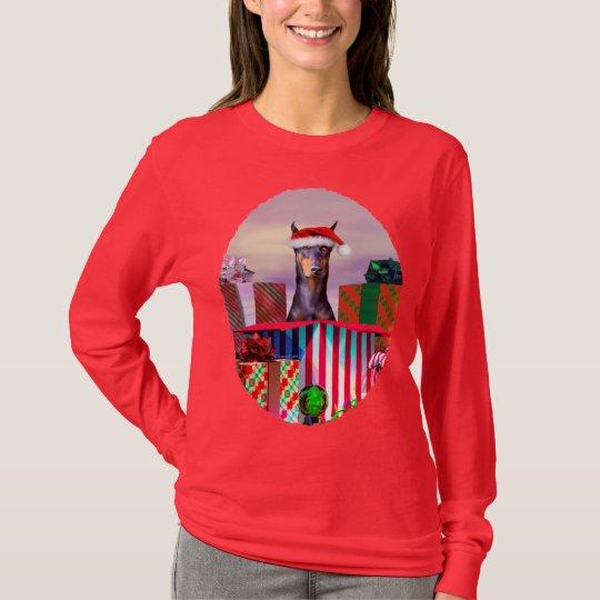 Doberman Christmas Surprise T-Shirt