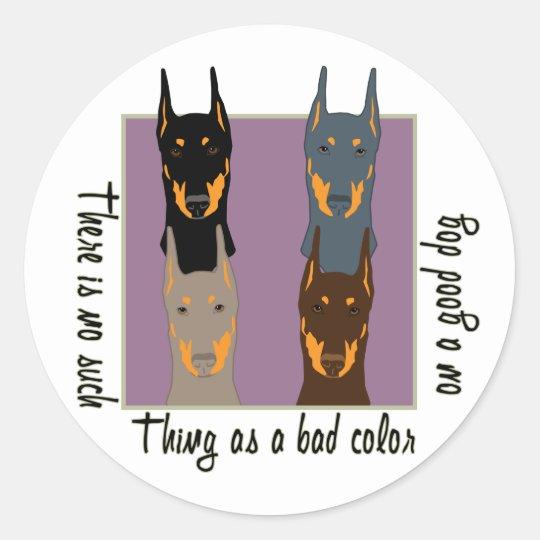 Doberman colors classic round sticker