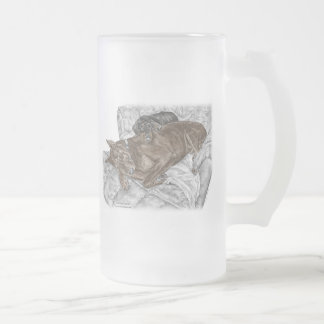 Doberman Dog and Puppy Frosted Glass Beer Mug