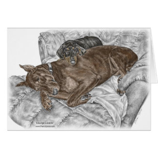 Doberman Dog and Puppy Greeting Card