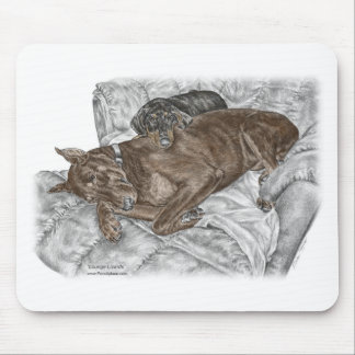 Doberman Dog and Puppy Mouse Pad