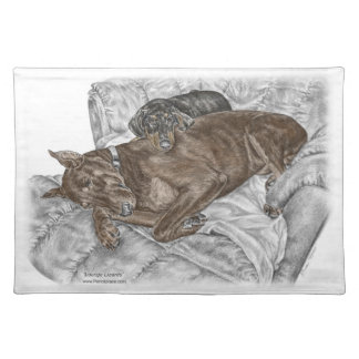 Doberman Dog and Puppy Placemat