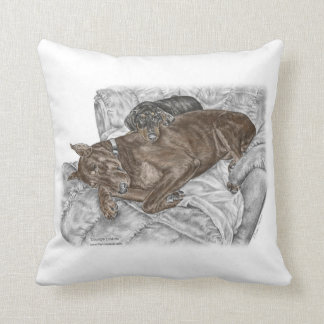 Doberman Dog and Puppy Throw Pillow