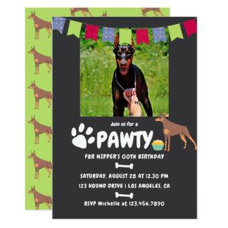Doberman Dog Birthday photo invitation