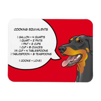 Doberman Dog Cooking Equivalent Chart Magnet